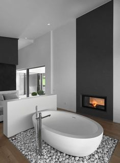 Wonderful Totally Free Freestanding Fireplace white Suggestions Fireplaces really are a coveted item among homeowners and home buyers alike. They're practical and Bathroom Fireplace, Freestanding Fireplace, Freestanding Bath, Bad Inspiration, Bathroom Inspiration, Modern Master Bathroom, Small Bathroom, Bathroom Ideas, Master Bathrooms