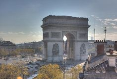 The Arc de Triomphe is one of the most famous monuments in Paris. It stands in the centre of the Place Charles de Gaulle (originally named Place de l'Étoile), at the western end of the Champs-Élysées.