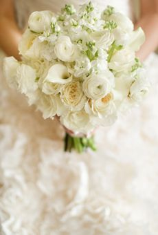 White Bouquet of Ranunculus and Roses | Wedding Flowers