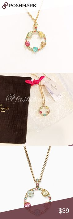 ♠️ Carnival Crystal Mini Pendant Authentic kate spade necklace. Sparkles and shines in light summer hues. 12K gold plated metal with glass stones. Lobster claw clasp. Actual necklace for sale in second two photos. New and unworn with tags attached. Comes with dust bag. kate spade Jewelry Necklaces