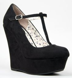 ed1bee011645 Breckelle s Mary Jane T-Strap Platform Wedge Heel Pump - Round-toe wedges  come in top-to-bottom vegan suede and adjust with a buckle for secure fit.