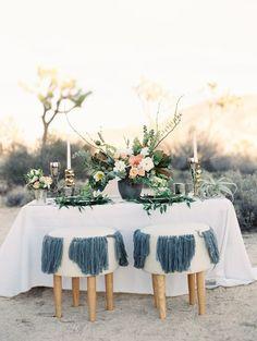 Pretty boho tablescape: http://www.stylemepretty.com/california-weddings/twentynine-palms/2016/04/19/a-boho-desert-inspiration-shoot-with-major-dress-drama/ | Photography: Lucy Munoz - http://www.lucymunozphotography.com/:
