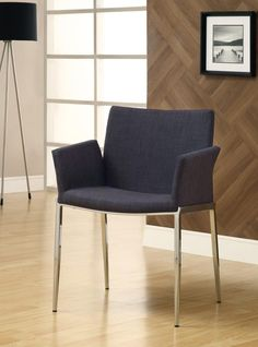 Charcoal Upholstered Dining Chair with Chrome Legs