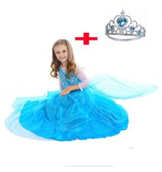 16.50$  Watch now - http://alieqv.shopchina.info/go.php?t=32790349987 - Fashion deguisement fille girl dress party wear elsa halloween costumes carnival elsa cape dresses 16.50$ #buymethat