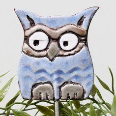 Owl Garden Art   Plant Stake   Garden Decor   Owl Ornament   Ceramic Owl    Small   Aquamarine