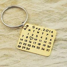 awesome Porte-clés Style  Calendrier en alliage doré ou argenté