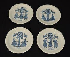 4 Petrus Regout boterhamborden 1967, oudhollandse spellen