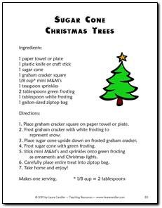 Sugar Cone Christmas Tree Recipe and reading comprehension questions - Just one of the many activities in the December Activities Mini Pack from Teaching Resources. Students have fun while learning! $