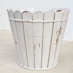 White Wooden Distressed Waste Paper Bin From Blissandbloom Co Uk