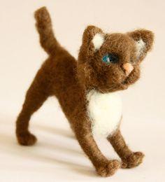 sweet  Cat  needle felted miniature small animal by nutkaart