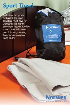 "Norwex Sport Towel (99cmx50cm or 38.8"" x 19.7""): Use it at the beach, pool, for camping, on holidays, or in your gym bag. Very compact (wet or dry), super absorbent and dries quickly! It effectively removes water from all surfaces EVEN when damp. Used after swimming, as a sport towel and hair towel. www.norwex.biz"