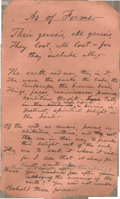 "Walt Whitman's handwritten poem ""As of Forms""."