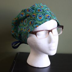 Peacock Feather Surgical Scrub Hat by FourEyedCreations on Etsy, $15.00 https://www.etsy.com/listing/182890899/peacock-feather-surgical-scrub-hat