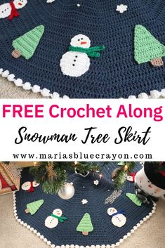 Crochet Snowman Christmas Tree Skirt Pattern This fun tree skirt will be perfect for under the tree this Christmas! Join the crochet along for free or get the pattern ahead of time. Crochet Christmas Decorations, Christmas Applique, Crochet Decoration, Crochet Christmas Ornaments, Holiday Crochet, Noel Christmas, Free Christmas Crochet Patterns, Crochet Snowflakes, Santa Ornaments