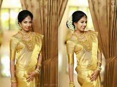 Kanchipuram gold handwoven pure silk saree with zari designed border and pallu Kerala Wedding Saree, Kerala Bride, Saree Wedding, Kerala Saree, Wedding Bouquets, South Indian Weddings, South Indian Bride, Indian Bridal, Christian Bridal Saree