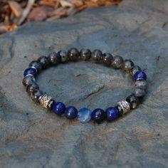 Men's Throat (Fifth) Chakra Bracelet. Made with semiprecious gemstones including Larkivite, Lapis and Kyanite. Free shipping worldwide :)