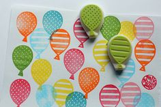 balloon hand carved rubber stamps. party balloon hand carved stamps. diy wedding/birthday. scrapbooking/gift wrapping/card making. set of 2