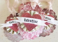 Valentine Gift Tags Vintage Paper Rosette Glitter Heart French PINK Damask Banner Favor Tag Set of 4 on Etsy, $6.00