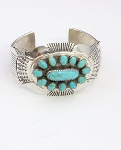 Gorgeous Navajo Sterling Silver Turquoise Cuff Bracelet Petit Point Signed Shay / Native American Jewelry / Southwestern / Handcrafted