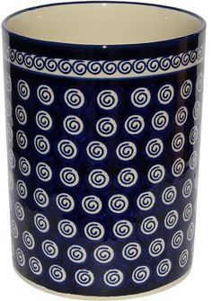Polish Pottery Utensil Holder From Zaklady Ceramiczne Boleslawiec Classic Pattern, High: Diameter: Utensil Holder, Utensil Caddy, Polish Recipes, Dessert Bowls, Polish Pottery, Dish Sets, Pottery Vase, Serving Dishes, Stoneware