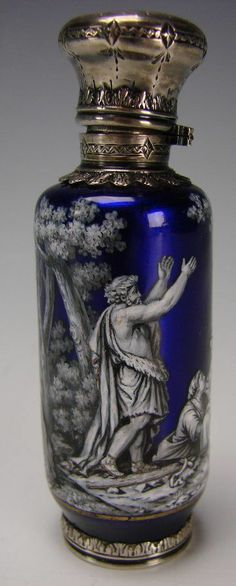 Antique French Limoges Enamel Scent Perfume Bottle  c. Mid 19th Century