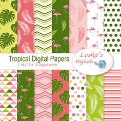 "Flamingo digital paper ""Tropical Flamingo"" pattern design Tropical backgrounds for scrapbooking and crafting projects"