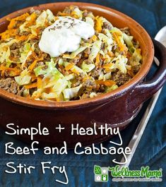 Beef and cabbage stir fry comes together in minutes and only needs one pan for a delicious, fast and healthy meal. Healthy alternative to hamburger helpers.