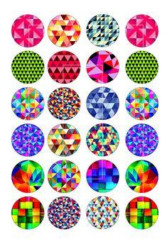 Belles images abstraits géométriques pour la fabrication de bijoux, boucles d'oreilles, boutons de manchette et autres objets d'artisanat.  Images de cercle ■ de 1,5 pouce, 30mm, 1 pouce et 20mm, chaque taille sur un autre collage de la feuille.  ■ Feuille de Collage taille 8.5 « x 11