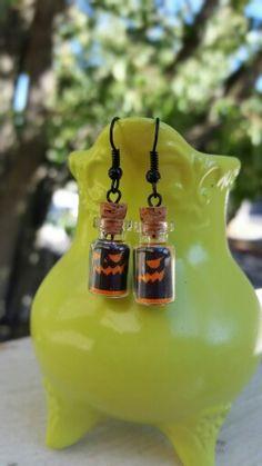 Bottle charm holloween earrings