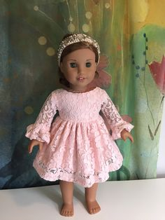 A personal favorite from my Etsy shop https://www.etsy.com/listing/561894229/american-girl-sweet-pink-lace-dress