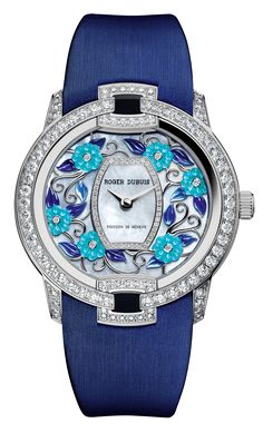 Blossom Velvet Blue is a multi-petal expression of ageless sensuality, with three one-of-a-kind and even more elaborate interpretations – assembled as an exquisite set nestling in a superbly crafted marquetry-worked box. Fancy Watches, Expensive Watches, Luxury Watches For Men, Rolex Watches, Ladies Watches, Blue And White, White Gold, Leather Watch Bands, Blue Velvet