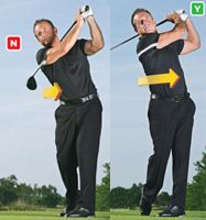 If your tendency is to slow your body turn as you swing through the ball, You think if your torso turns left of the target, the ball will follow. The opposite is true. By slowing your turn, your arms and hands whip through the hitting area and shut the clubface, producing a hook. To prevent the face from shutting at impact, you must keep turning. Let your chest and hips rotate forward until your shirt buttons and belt buckle point left of your target (near left).