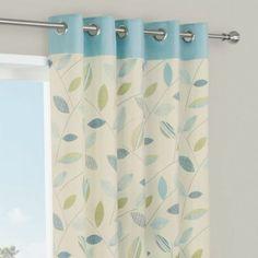 Zen Seine Plain Eyelet Curtains W 167cm L 228cm Printed Yellow Cotton Living Room Leaf Pattern