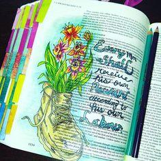 Bible journal entry using @prisma_color pencils #biblejournaling #bibleart #DOMagazine #faithinheart