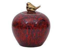Pote Decorativo Lino Bird Vermelho - 20cm