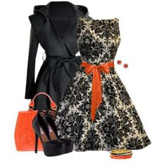 Printed Black and White Dress with Orange Ribbon