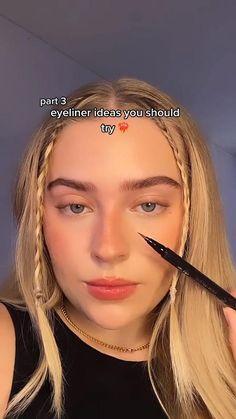 Edgy Makeup, Makeup Eye Looks, Eyeliner Looks, Creative Makeup Looks, Cute Makeup, Gorgeous Makeup, Pretty Makeup, Skin Makeup, Doll Eye Makeup