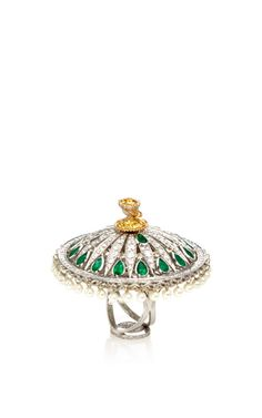 Dancing Doll Summer Ring In 18K White Gold by Sybarite for Preorder on Moda Operandi