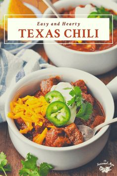 This thick Texas Chili recipe is an easy dinner that's packed with hearty chunks of meat and bold, zesty seasoning. Simmer a big pot to serve a crowd, or freeze extra chili for another day. Texas Chili, Chili Recipes, Stuffed Jalapeno Peppers, Tomato Paste, Freeze, Crowd, Easy, Dinner, Big