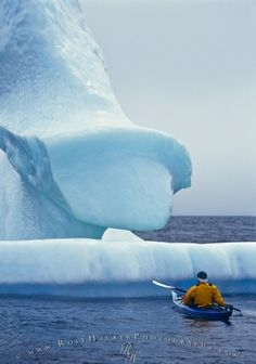 An interesting activity during the winter holidays in Newfoundland is ocean kayaking in Hare Bay on the Northern Peninsula. Newfoundland Canada, Newfoundland And Labrador, Newfoundland Icebergs, Ocean Kayak, Kayak Adventures, Outdoor Adventures, Rio, Canada Eh, Kayak Fishing