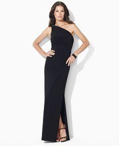 56e7868de27 Lauren Ralph Lauren One-Shoulder Evening Gown   Reviews - Dresses - Women -  Macy s