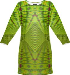 Sweatshirt dress in lime color  with 3D pattern from Print All Over Me