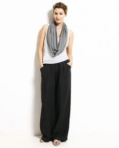 Linen Silk Wide Leg Trousers