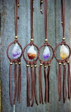 Piedra Dream Catcher collar de cuero amatista collar de
