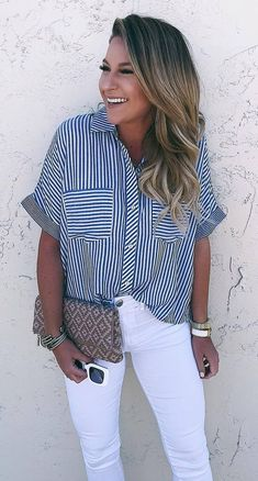 what to wear with a pair of white skinnies : clutch and striped shirt