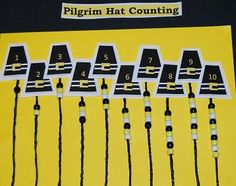 5 Thanksgiving Math Games - Printable Pilgrim Hat Templates for Counting Sticks