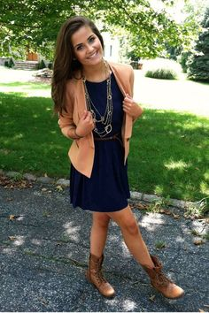 .Combat boots with Dress and Cardigan - fall style