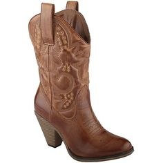 Call It Spring(TM) Devon High-Heel Cowboy Boots found on Polyvore featuring polyvore, women's fashion, shoes, boots, studded boots, western cowgirl boots, western style boots, high heel shoes and studded cowgirl boots