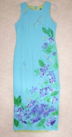 Turquoise Spring Dress Embroidered With Dragonflies by Marutxi, $125.00