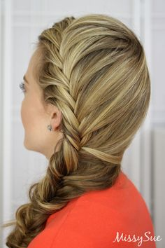 """French plait hairstyle is the most common and easy hairstyle of all. This hairstyle includes the partition of your hairRead More Intricate French Plait Hairstyles"""" French Plait Hairstyles, Fishtail Braid Hairstyles, Pretty Hairstyles, Layered Hairstyles, Updo Hairstyle, Braided Updo, Wedding Hairstyles, Hippie Hair, Back To School Hairstyles"""